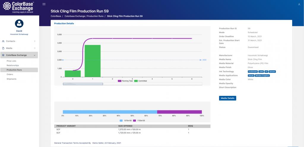 ColorBase Exchange production run